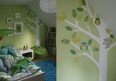 Best wall paint ideas for children's rooms wall colors ideas children's room sloping boy pastel green decoration trees Best Wall Paint, Best Wall Colors, Baby Boy Rooms, Kids Corner, Nursery Design, Cool Walls, Kids Room, Room Decor, Interior Design