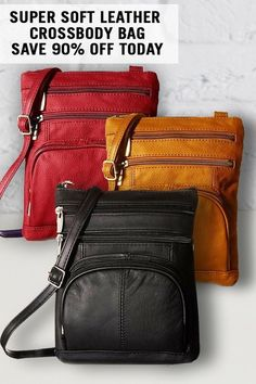 A soft leather bag so perfect that you will wonder how you ever lived without it. Now in tantalizing limited edition holiday colors. Leather Crossbody Bag, Leather Purses, Leather Handbags, Leather Backpack, Leather Wallet, Leather Men, Soft Leather, Look Fashion, Purses And Bags