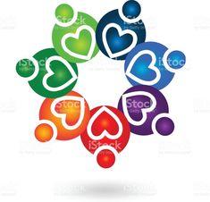 チームワーク役立つ思いやりのある心人抽象的アイコン ベクトル ロイヤリティフリーチームワーク役立つ思いやりのある心人抽象的アイコン ベクトル - 地域社会のベクターアート素材や画像を多数ご用意