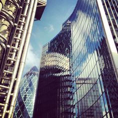 Lloyd's Building and the Gherkin in the City of London #reflection #London #architecture