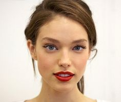Simple hair, lovely lashes, and bright red lips /// but bight bubble gum pink for the wedding.