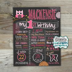 Owl Birthday Chalkboard First Birthday Chalk poster| Birth stats | Custom printable | Birthday chalk poster boards are a fun and creative way to announce baby's first year milestones during your photography session! Available as a digital file, or a professional print! Choose from our list of babies' milestones, or add your own! by DazzleDesignGraphics