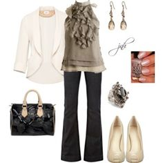 Love this work day causal outfit. The feminine details on masculine basics gives this look an edge.