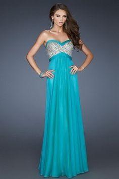 Fashionable A-Line Chiffon Blue Prom Evening Dress