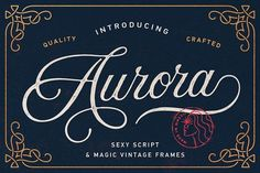 Aurora Script + 9 Vintage Frames This vintage font was handwritten under inspiration of traditional calligraphy and wonderful mystic soundtrack of Wojciech – iFonts - Download Fonts