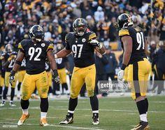 020ccbef5b0 Defensive lineman Cameron Heyward of the Pittsburgh Steelers signals to  defensive lineman Stephon Tuitt as linebacker