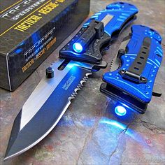 TAC-FORCE Blue POLICE Spring Assisted Open LED Tactical Rescue Pocket Knife NEW! #TACFORCE