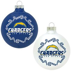 Classic NFL San Diego Chargers Home and Away Glass Ornaments