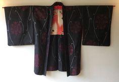 Vintage Japanese Kimono Haori Jacket Meisen Silk black kamon