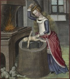 Detail of a miniature depicting Nature forging a baby. Origin- Netherlands, S. (Bruges)