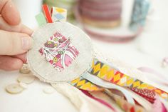 @Marna Lunt textile artist shows us how to create #LibertyPrint rosettes for a hen party #LibertyCraftBlog - Marna Lunt's hand made Liberty print hen party rosettes - Step 8 C Liberty print hen party rosettes