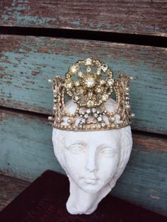 Antique Style Jeweled Crown Shabby Chic for by primitivepincushion, $38.99