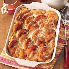 Overnight Peaches-and-Cream French Toast | MyRecipes.com        1 8-oz. loaf French bread, sliced      8 large eggs      2 cups whole milk      1/4 cup sugar      1 teaspoon vanilla extract        2 15-oz. cans sliced peaches packed in juice, drained      1/2 cup packed dark brown sugar      1/2 teaspoon cinnamon      1/2 cup heavy cream
