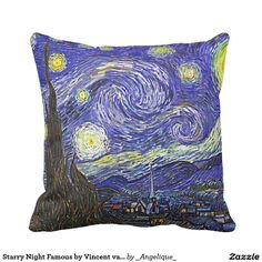 Starry Night Famous by Vincent van Gogh Throw Pillow