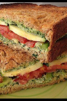 Veggie Sandwiches with Creamy Kale Spread - Vegan