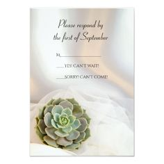 Shop Green Succulent on White Wedding RSVP Response created by loraseverson. Response Cards, No Response, Succulent Wedding Invitations, Wedding Rsvp, Succulents, Green, Prints, Color, Colour