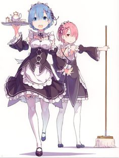 re 385999 disc_cover gashin maid ram_(re_zero) re_zero_kara_hajimeru_isekai_seikatsu rem_(re_zero) thighhighs. Kawaii Anime Girl, Anime Art Girl, Chica Anime Manga, Otaku Anime, Re Zero Wallpaper, Chibi, Ram And Rem, Re Zero Rem, Character Design
