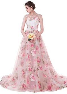Magbridal In Stock Wonderful Organza & Floral Cloth Scoop Neckline Ball Gown Prom Dresses With Lace Appliques & Beadings Floral Prom Dresses, Prom Dresses 2017, Wedding Dresses, Formal Dresses, Ball Gowns Prom, Ball Dresses, Organza Dress, Lace Dress, Chiffon Floral