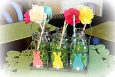 I decorate these cute little antique milk bottles for every occasion. LOVE THEM!