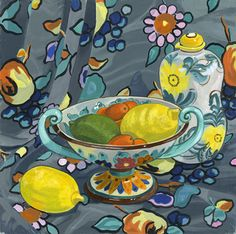 ' Fruit Bowl' by Jane Dunn Borresen .New print available on - http://fineartamerica.com/featured/-fruit-bowl-jane-dunn-borresen.html Acrylic Print $93