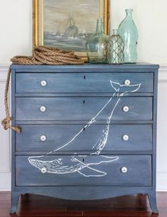 Whale painted on dresser: http://www.completely-coastal.com/2016/01/dresseer-makeover-coastal-beach-nautical.html