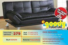 futon sofa bed split back rest with adjustable arm black pu leather material