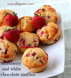 Fresh Strawberry and White Chocolate Muffins Recipe Desserts, Breads with all-purpose flour, sugar, baking powder, salt, large eggs, yoghurt, olive oil, vanilla extract, strawberries, chocolate chips