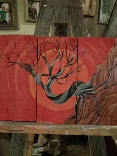 Cedar tree art with a raven art by Stacie Sheets