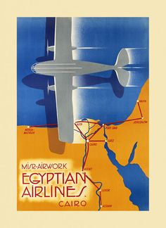 Egypt Cairo Northeast Africa with the Middle East Egyptian Airlines Arab Arabic Travel Tourism Vintage Poster Repro FREE