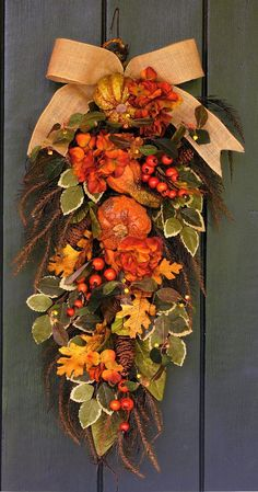 Bountiful Harvest - Hydrangea, Pumpkin and Berry Fall Swag, Fall Wreath, Fall Decor, Fall Leaves, Autumn Wreath, Autumn Decor, Harvest Decor