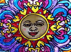 Sun Face mandala window cling by barbaranovak on Etsy, $25.00