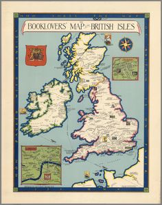 The Booklovers' Map of the British Isles, Paine 1927 #map #uk #ireland