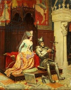 An Arthurian Legend (oil on panel)- Knight repairing his armour as his lady watches with admiration.