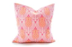 LOVE LOVE LOVE Bright pink and orange tulip print pillow cover. Soft wash white denim cotton cover with colorful front overlay in cotton sateen (3 layers of