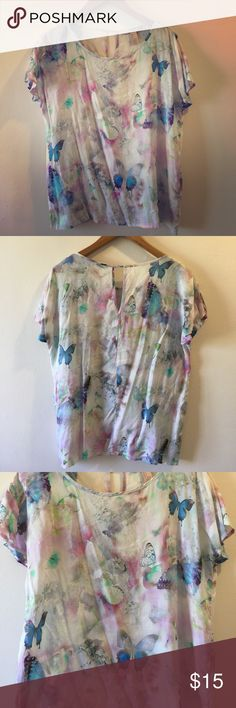 Trippy butterfly blouse Trippy rainbow butterfly blouse. Super hippy, thin and comfortable. Perfect for a hot day in a meadow. Forever 21 Tops Blouses