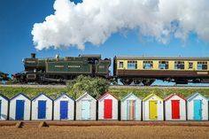 Day trippers, Steam train and beach huts, photographic print, home wall print, landscape photo print Steam Railway, Great Western, Dartmouth, Steam Locomotive, Landscape Photos, Wall Prints, Devon England, Day, Beach Huts
