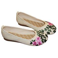 Feuille Fleur De Lin Perméable À L'air Glissement Du Vent National Léger Vintage Sur Des Chaussures Plates lPZklR47q