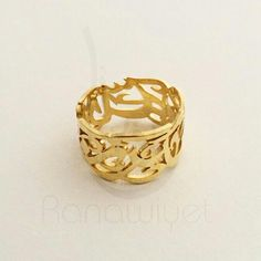 The intricate Arabic calligraphy name ring... My personal favorite at the moment. Gold plated, 925 silver, shiny finish. Also available in brass base and solid siver, with a classical shiny finish, or matte. Plating options are: gold, rose gold or rhodium
