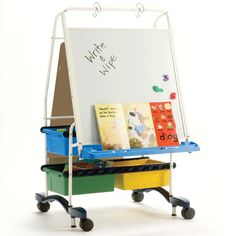 With (2) dry  erase boards, (4) Open Tubs, a handy book ledge and chart paper hooks, you'll have everything you need to present an engaging lesson to your students. Large3-inch casters and a foot-activated braking system make it easy to maneuver and then secure your reading writing center anywhere in your classroom. #RC107