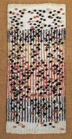 Anni Albers, Dotted, 1959 Rep-woven ground with multicolored knots. x cm x 11 inches) Private Collection The Josef and Anni Albers Foundation / Artists Rights Society (ARS), New York Weaving Textiles, Tapestry Weaving, Loom Weaving, Anni Albers, Josef Albers, Textile Fiber Art, Textile Artists, Textile Texture, Bauhaus Textiles