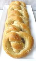 GF Soft Pretzels == Gluten Free Holly @ Recipes and Tips to Fight M.S. (2 eggs + 1 egg, beaten, 1-1/2 C almond flour, 1/2 tsp. salt, 1 T butter or ghee, 2-3 T coconut flour, 1 tsp. water, coarse salt) Bake for 10 mins. @ 350 F. Turn up oven to 400 F & turn pretzels over. Brush with single egg & water mixture. Bake another 5 mins. at 400 F.