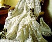 Baby Knitting Pattern - Shawl and Cot Blanket Heirloom Keepsake Shawl pattern Baby Blanket  Crochet Blanket Leaf design Instant Download