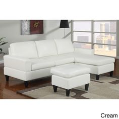 Cannes Reversible Sectional Couch with Free Ottoman in Faux Leather