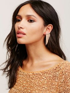 Fringe Ear Pins | Pull-through metal earrings featuring free-flowing fringe detail for a fun fluid effect.