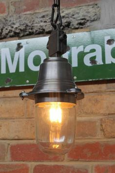 Industrial beacon pendant light with glass dome. Inspired from the vintage handheld miners lanterns, with a metal finish great for home or the cafes.
