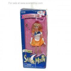 Sailor Moon Doll 6 inch Sailor Venus Doll in Box with Wand Bandai America 1995 D Sailor Moon Toys, Sailor Moon Art, Sailor Venus, Sailor Moon Merchandise, Sailer Moon, Price Sticker, Dolls For Sale, Blue Box