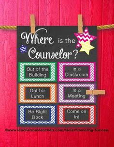 Counselor Office Door: This printable poster/sign would be great for a school counselor's office door. It features chalkboard background with color chevron boxes: Where is the Counselor? Print in any size listed below. Attach a clothespin (perhaps covered in fun paper or glitter) and attached it to the appropriate place on the poster. Clothespins not included. ;)