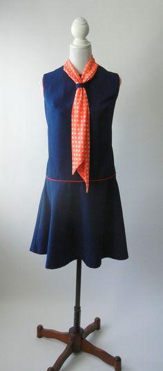Vintage 1960s Blue & Orange Mod Dress, Large