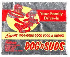 Vintage Dog 'n Suds Wrapper Bag Retro Recipes, Vintage Recipes, Dog Cone, Vintage Restaurant, Vintage Dog, Childhood Toys, Cool Toys, Nostalgia, Good Food