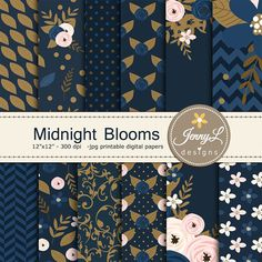 Navy Blue Floral digital paper Blush Wedding by JennyLDesignsShop